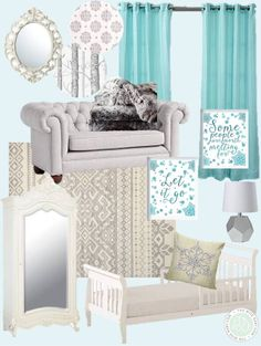 Loving this (Frozen inspired) winter wonderland nursery inspiration! Perfect for the little Queen Elsa in your life!