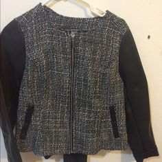 Tweed Jacket w/faux leather sleeves H&M jacket, size 10 but feels like and an size 8. No stains, smoke free home. H&M Jackets & Coats Utility Jackets