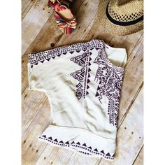 NWOT Urban Outfitters Cream Boho Blouse Cute, summery Ecote boho style cream blouse w/purple tribal-like print & sexy split back. Urban Outfitters Tops Blouses