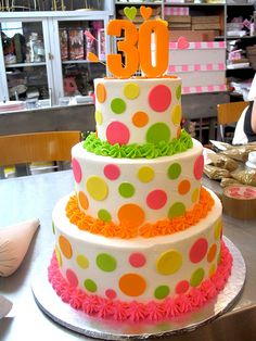 3-tier Wicked Chocolate 30th birthday cake iced in white butter icing decorated with neon fondant polka dots
