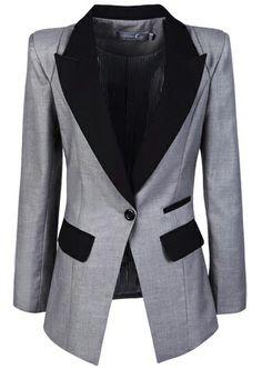 Grey Contrast Lapel Long Sleeve Pockets Blazer US$36.07