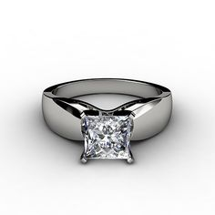 Well Duh, who wouldn't want this!  Princess Cut Solitaire Engagement Rings With Diamond Band ...