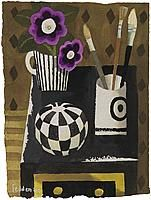 Mary Fedden Brushes Watercolour Signed and dated x cm 10 x 8 inch Russian Folk Art, Still Life Art, Abstract Flowers, Linocut Prints, Art Club, Paintings For Sale, Cat Art, Contemporary Art, Mary