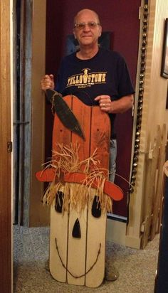 Handmade Thanksgiving Wood Scarecrow with Orange Painting in 2014 - Crow, scarecrow stick Sign