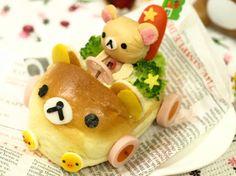 bear bread - go kart Japanese Sweets, Cute Japanese, Japanese Food, Cute Lunch Boxes, Cute Food Art, Kawaii Bento, Bento Recipes, Food Decoration, Food Humor