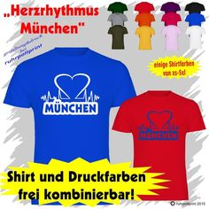 T-Shirt  Herzrhythmus München  individuell gestaltbar mit Flexdruck
