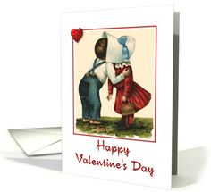 Valentine's Day-Boy and Girl-Kissing-Hearts-Children-Vintage card. Thank you company in Missouri!