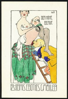 Hand-coloured-Exlibris-Bookplate-by-German-Expressionist-Willy-JAECKEL-c-1920 Art Nouveau, Art Deco, Illustrations, Hand Coloring, Erotic Art, Sculptures, German, Draw, Graphic Design