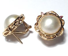 18K Yellow Gold Ruby White Mabe Pearl French Omega Earrings