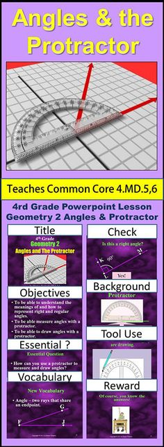 Fourth Grade Geometry 2 - Angles and Protractors teaches students all about angles: the definition, how to identify different types, how to measure them and how to draw them. To see this product click Visit.