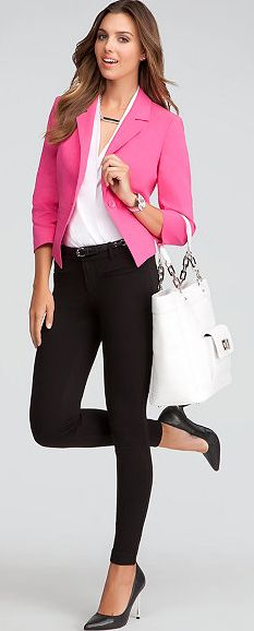 Shop bebe for: Workday Statement - Shawl Collar Crop Jacket - Signature Stretch Skinny Jeans - Sarah Classic Leather Pumps - Newport Leather Tote Office Fashion, Work Fashion, I Love Fashion, Autumn Fashion, Fashion Outfits, Womens Fashion, Look Blazer, Blazer Outfits, Jean Outfits