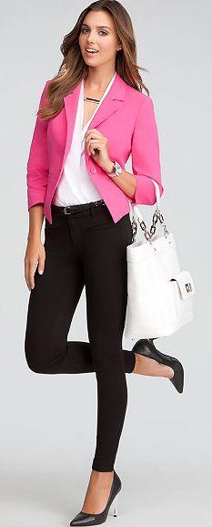 0f961632b628 Bebe Workday Statement: High Low Linen Blazer, Sleeveless Wrap Bodysuit,  Signature Stretch Skinny Jeans, Sarah Classic Leather
