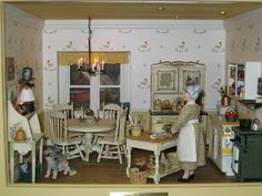 Another miniature country kitchen, complete with its motherly owner. :) - from Creative Room Boxes