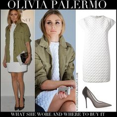 Olivia Palermo in white embossed mini dress, green jacket and black pumps