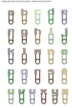 alfabeto delle spille da balia