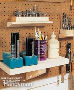 DIY: Garage Organizing Projects - if you're short on space, this post is for you. Learn how to build ceiling drawers, overhead storage racks and ideas on how to use peg boards to organize tools, supplies, etc. - Family Handyman