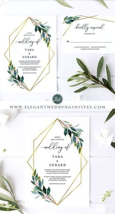 Geometric pattern greenery wedding invitations EWIM003