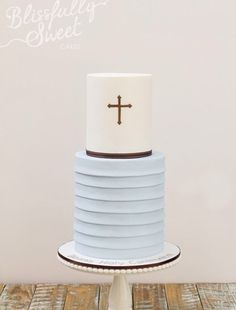 simple and beautiful christening or baptism cake, cake for a boy, blissfully sweet