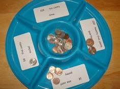 coin sorting activity- PreKinders may not know the value of the money, but they can still sort by differences. First Grade Classroom, 1st Grade Math, Math Classroom, Kindergarten Math, Classroom Ideas, Maths Eyfs, Preschool, Money Activities, Math Resources