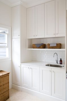 The laundry room is often an overlooked and overworked room in the home. It needs to be functional of course, but what about beautiful? Whether you have a small laundry closet or tiny laundry room,… Laundry Nook, Laundry Room Organization, Laundry In Bathroom, Laundry Cabinets, Cupboards, Laundry Room Sink Cabinet, Ikea Laundry Room, Laundry Closet, Shaker Cabinets