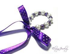 Pearl Kid Bracelet Little Girl Child White Purple by ElwynJewelry