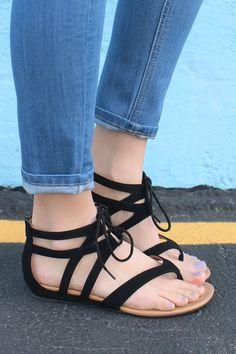 Black Lace Up Zipper Back Gladiator Sandals Melanie-S