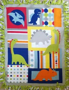 Dinosaur Patches and Dots Fleece Tie Blanket by BetsysItsyEtsy on Etsy Fleece Tie Blankets, Painting Wooden Letters, Boy Quilts, Little Elephant, Baby Boy Rooms, Different Patterns, Fleece Fabric, Little Ones, Patches