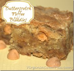 Butterscotch Toffee Blondies by virginiasweetpea.com