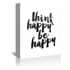 """Americanflat Think Happy Be Happy 2 Textual Art on Gallery Wrapped Canvas Size: 20"""" H x 16"""" W x 1.75"""" D"""