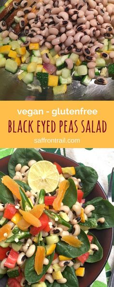 Zucchini Recipes - Recipe for Curried Black eyed peas salad with Zucchini [vegan] [gluten free] A delicious, colourful salad that you can easily have for lunch!   Healthy Vegetarian Recipes - Vegetarian salads