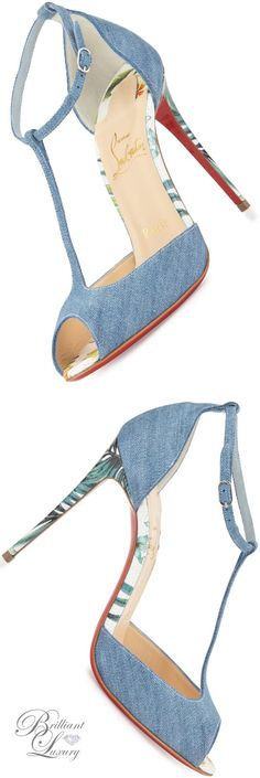 Brilliant Luxury * Christian Louboutin Senora Denim 100mm Red Sole Sandal