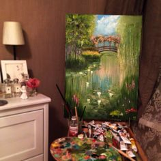Wood pond. 50x80, oil, canvas.