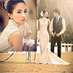 Vintage Cheongsam Style Ivory White Lace Second Simple Wedding Dresses SKU-118142