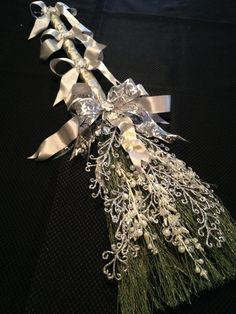 GLAMOROUS WEDDING BROOM in Silver and Sage by ElvesFlorals on Etsy