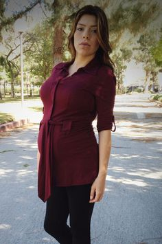 Berry Button Down Tunic - Heritwine Maternity