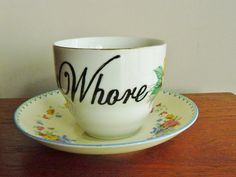 Whore hand painted vintage teacup and saucer by trixiedelicious