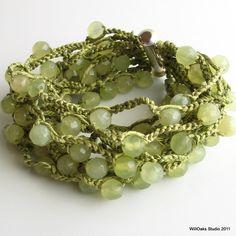 Piedra y puños de seda de mar verde pálido, Jade verde brazalete, pulsera de seda y Jade Facetada, Vogue 2012 ganchillo número de ganchillo