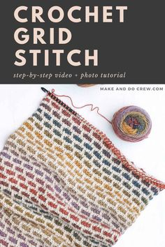 Video Tutorial: The Tunisian Crochet Brick Stitch (aka the Grid Stitch) Crochet Afghans, Tunisian Crochet Blanket, Crochet Stitches For Blankets, Tunisian Crochet Patterns, Modern Crochet Blanket, Knitting Paterns, Make And Do Crew, Crochet Instructions, Crochet Videos
