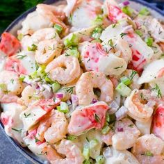Seafood Salad Seafood Salad: This seafood salad is a blend of imitation crab and shrimp in a creamy dill dressing with fresh vegetables. An easy high protein lunch option. Great Salad Recipes, Sea Food Salad Recipes, Shrimp Salad Recipes, Shrimp Dishes, Potluck Recipes, Fish Recipes, Seafood Recipes, Cooking Recipes, Seafood Pasta