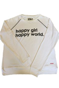 20% OFF Your First Order, Code: FirstOrder. Peace Love World Happy Girl Happy World Oversized Comfy Top