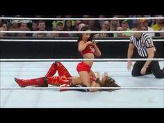 AJ Lee Vs Brie Bella ( AJ Lee dressed as Nikki Bella )