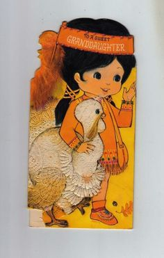 Die Cut Indian Girl with Turkey Fold Out Vintage Thanksgiving Greeting Card