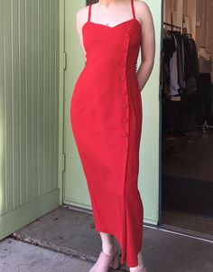 6f806676c379 Vintage Jennifer Jefferies Red Button Dress with Spaghetti Straps  https://www.etsy