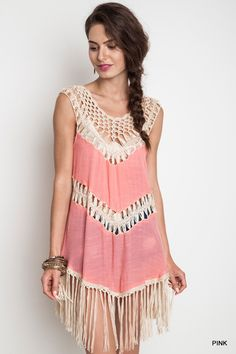 A little western flair combined with our favorite boho style, this crochet tank dress in pink will get you compliments galore with its fringe and crochet details.  Unique and sweet and perfectly pink. | Shop this product here: spree.to/bhv6 | Shop all of our products at http://spreesy.com/amoddoma    | Pinterest selling powered by Spreesy.com
