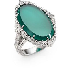 Judith Ripka Green Chalcedony, White Sapphire & Sterling Silver Ring