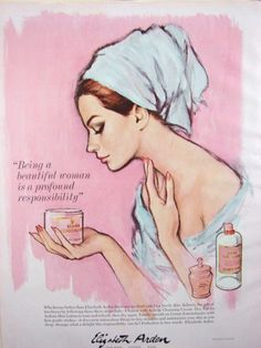 "Vintage Makeup ""Being a beautiful women is a profound responsibility."" Unnamed artist for Elizabeth Arden, Harper's Bazaar, May Retro Makeup, Vintage Makeup, Vintage Beauty, Vintage Fashion, Vintage Advertisements, Vintage Ads, Vintage Posters, Elizabeth Arden Perfume, Celebrity Makeup Looks"