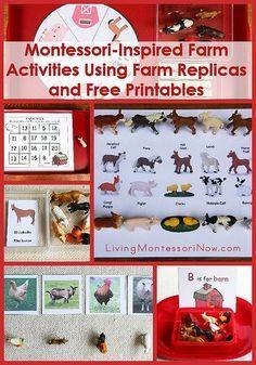 Long list of free farm printables plus ideas for Montessori-inspired farm activities using replicas and printables