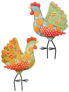 Metal Yard Art: Calico Chicken Stakes, Set of 2 | Gardeners.com