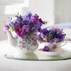 Vintage Tea Set Flower Arrangement - Healthy Home - Mother Earth Living