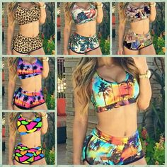 Bikini Set Sexy 2 Pieces Set Cropped Tops Shorts 3D Flower Print